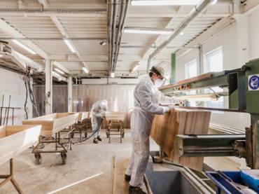 Włączenie do linii technologicznej produkcji trumien maszyny Wood-Mizer WM3500
